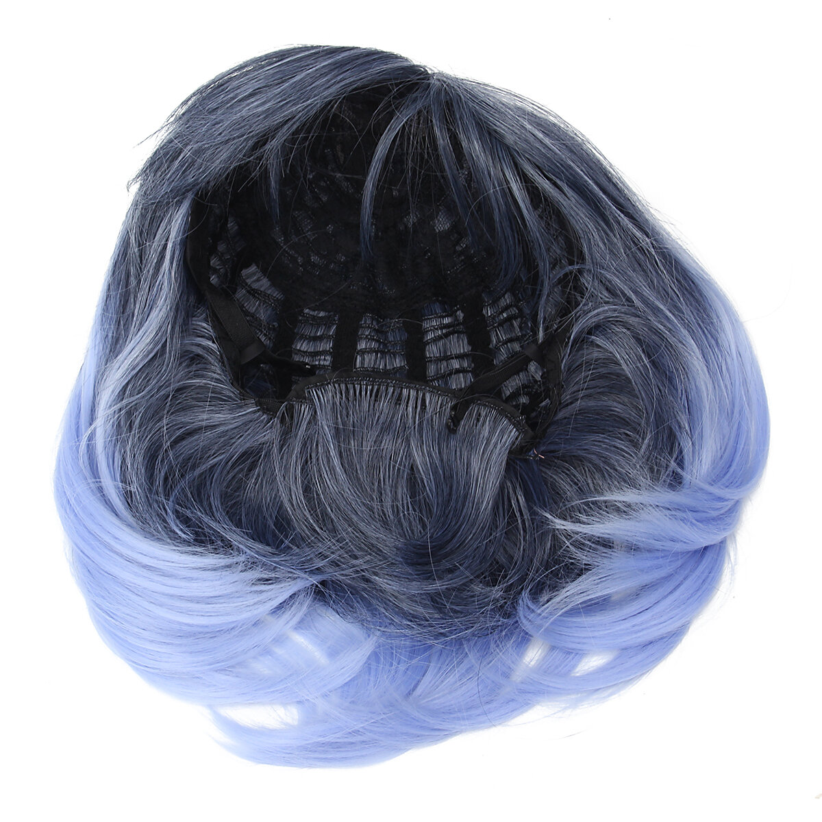 35 40cm Blue Gradient Cosplay Peruca Mulher Curto Cabelo Curly Anime Natural Role Play Capless - 5