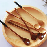 Long Handle Wooden Mixing Spoon Tie Wire Round Handle Ladle Stirring Spoon
