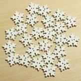 25 di Natale bianco pulsanti fiocco di neve in legno 2 fori del mestiere di DIY cucire