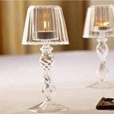 Crystal Glass Candle Tea Light Holder Table Lamp Home Decoration