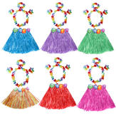 Girls Hawaiian Grass Skirt Flower Hula Lei Wristband Garland  Dress