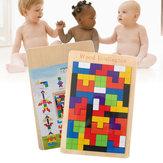 Tetris De Madeira Do bebê Quebra-cabeças Blocos de Brinquedos Crianças Crianças Crianças Brinquedo Pré-Escolar Jogo Jigsaw Puzzle Brinquedo Desktop Casual Crianças Brinquedo