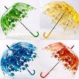 ジャンプ傘 独創デザインカラフル葉っぱ柄アンブレラ 透明感PVU素材アーチ型長傘