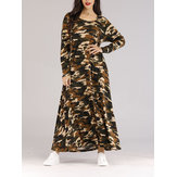 Women Long Sleeve Camouflage Maxi Dress with Belt