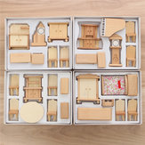Nowy 29 szt. Skala 1:24 Dollhouse Miniature Unpainted Wooden Furniture Model Suite