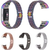 15mm 5Rows Metal Watchband Replacement for Fitbit Charge 2