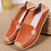 Vrouwen Vrije tijdschoenen Ademende Hollow Out Flats Soft Sole Loafers Flower Printing Loafers