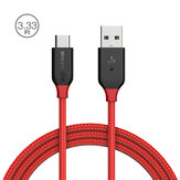 BlitzWolf® AmpCore BW-TC5 3A USB Type-C Braided Charging Data Cable 3.33ft/1m With Magic Tape Strap