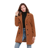 Women Fleece Solid Color Button Coats with Pockets