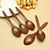 5Pcs Wooden Cooking Kitchen Utensil Coffee Tea Ice Cream Soup Caterin Spoon Tool