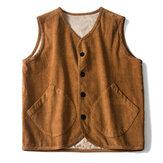 Men SingleBreasted Corduroy Vintage Vest