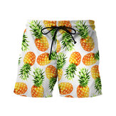Mens Summer Quick Drying 3D Pineapple Printing Drawstring Be