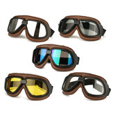 Motorcycle Retro Goggles Flying Scooter Helmet Windproof Glasses Anti-UV Brown Frame