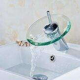 EstilomodernoCozinhaBanheiroRecipienteDe Vidro De Cobre Rodada Cachoeira Banheira Sink Faucet Tap