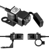 Waterproof 12V-24V 5V 3.1A Dual USB Charger Motorcycle Charging Adapter With ON/OFF Switch Handbar Mirror Installation