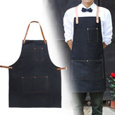 Apron Work Clothes Cafe Barista Pockets Soldering Barber Denim Workwear Straps Kitchen Aprons