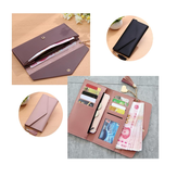 Mulheres Bolsa Longa Multi-Card slots PU Leather Phone Wallet Envelope Embreagem Bolsas