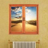 Wüste 3D Artificial Fenster Ansicht 3D Wandaufkleber Sunset Room PAG Aufkleber steuern Wand Dekor Geschenk