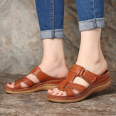 LOSTISIA Mulheres Comfy Hollow Out Gancho Loop Wedges Sandals
