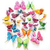12PCS 7 Renkli 3D Çift Katmanlı Kelebekler Duvar Çıkartması Buzdolabı Mıktanıs Ev Dekoru Sanatı Aplike