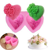 Heart-shaped Rose Silicone Baking Mold Fondant Cake Mold DIY Chocolate Handmade Soap Mold Baking Tools