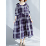 Plus Taille Casual Plaid Patchwork manches longues Casual Dress