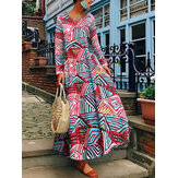 Plus Size Vintage Printed Long Sleeve Women Maxi Dress