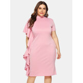 Plus Size Women Side Ruffle Slim Pack Hip Dress
