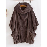Batwing Sleeve Fleece Warm Coats