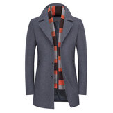 Mens Winter Thick Warm Stylish Woolen Coat Scarf Overcoat