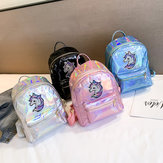 Bright Face Laser Backpack Cartoon Cute Unicorn Backpack Girl Casual Bag Tide Pu