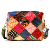 Women Genuine Leather Patchwork Crossbody Bag Shoulder Bag