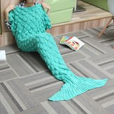 180x90 Garen Breien Zeemeermin Tail Blanket Wave Strip Warm Bed Mat Super Soft Sleep Bag