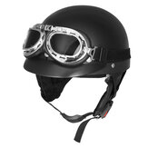 Retro Matt Black Motorcycle Half Face Helmet Biker Scooter With Sun Visor UV Goggles Cafe Racer