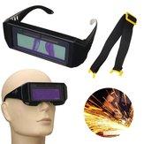 Solar Powered Auto Darkening Welding Máscara Capacete Olhos Goggles Tow-way Óculos