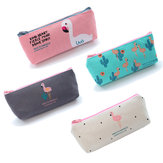 Mrosaa Cute Flamingo Canvas Pencil Case Small Fresh Zipper Large Capacity Pen Bag School Stationery