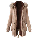 Plus Maat Casual Women Bont Collar Hooded Thick Coats