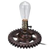Dispositivoelétricoindustrialdosótãoretro transformado pela luz da lâmpada de mesa da tabela da tubulação do ferro