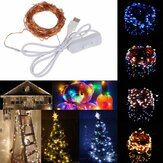 10M 100 Waterproof USB LED Fairy String Copper Fio HoliDay Light com interruptor para decoração de festa