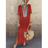 Vintage Women Folk Style V-Neck Short Sleeve Dress