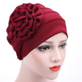 Women Flower Cotton Warm Czapki Czapka Muslim Casual Hat