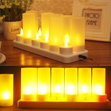 12PCS LED Rechargeable Candle Lamps Flameless Warm Tea Light Decoration