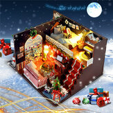 T-Yu DIY Kits Christmas House Decoration Miniature Wood Doll House Furniture Model Assembling