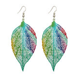 Bohemian Luxury Zinc Alloy Colorful Leaf Drop Earrings