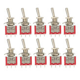 10pcs Rouge Commutateur à Bascule DPDT On-Off-On 6 PIN 3 Position 5A 120Vac / 2A 250Vac