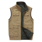 Mens Mutil Pockets Outdoor Travel Cotton Vest Plus Tamanho