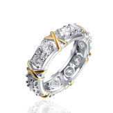 Simple Style Zirconia Inlay Knot Pattern Ring for Women