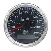 85mm GPS Compteur de vitesse à l'épreuve de l'eau Black Bezel Gauge 200MPH 300KMH
