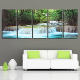 30x60CM 5PCS Canvas Painting Forest Waterfall Wall Art Picture Home Decor