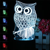 Owl 3D LED Color Change Night Light USB Charge Table Desk Lamp Decoration With Remote Controller